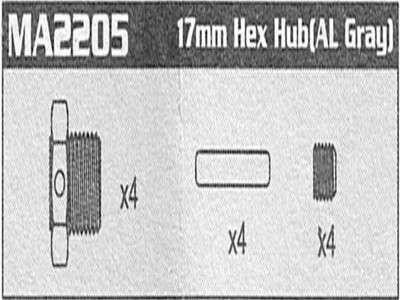 MA2205 17mm Hex Hub (AL) Raptor