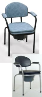 Toilettenstuhl 9062, feststehend, Polster Farbe blau-grau marmoriert, Stahlgestell schwarz